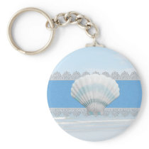 Soft Blue Seashell And Lace Keychain
