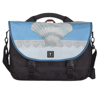 Soft Blue Seashell And Lace Laptop Messenger Bag