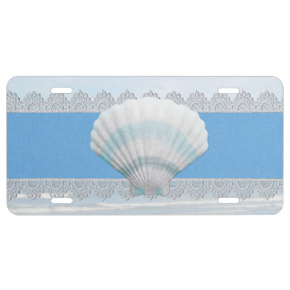 Soft Blue Seashell And Lace License Plate