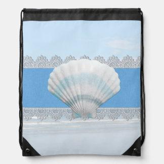 Soft Blue Seashell And Lace Drawstring Bag