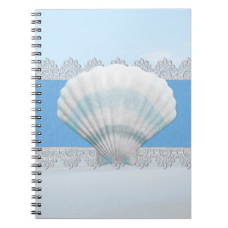Soft Blue Seashell And Lace Spiral Notebook