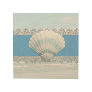 Soft Blue Seashell And Lace Wood Prints
