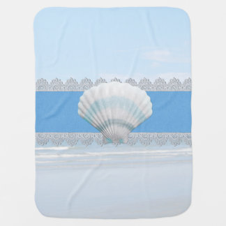 Soft Blue Seashell And Lace Receiving Blankets