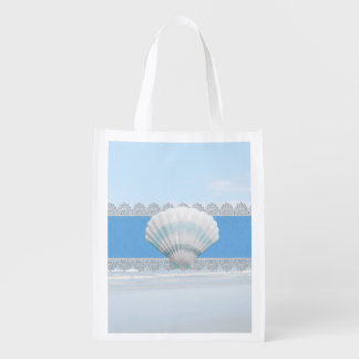 Soft Blue Seashell And Lace Grocery Bags