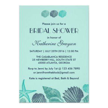 Toddler & Baby themed Soft Blue Seashells Invitation for Summer Wedding