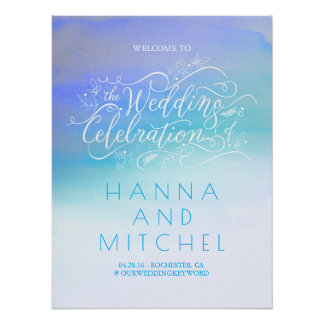 Soft Blue Watercolor Wedding Welcome Sign