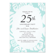 Soft Blue White Tropical Leaves 25th Anniversary Card