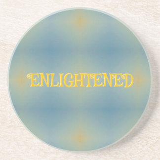 "Soft Blue Yellow Pattern "" Enlightened"" Zen Coaster"
