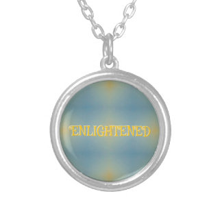 """Soft Blue Yellow Pattern """" Enlightened"""" Zen Silver Plated Necklace"""