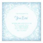 "Soft Blues and White Plumes Invitation 5.25"" Square Invitation Card"