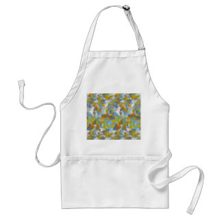Soft blues/greens/orange swirling shapes on apron