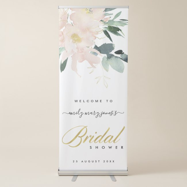 Soft blush floral watercolor bridal shower welcome retractable banner