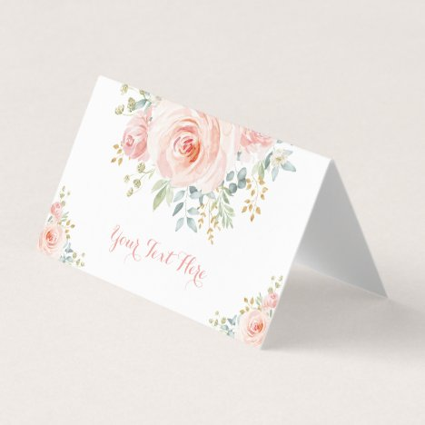 Soft Blush Gold Watercolor Floral Wedding Shower Place Card
