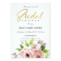 SOFT BLUSH PINK WATERCOLOUR FLORAL BRIDAL SHOWER INVITATION