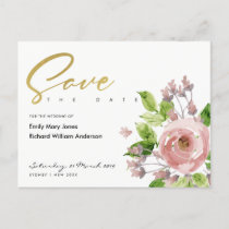 SOFT BLUSH PINK WATERCOLOUR FLORAL SAVE THE DATE ANNOUNCEMENT POSTCARD