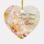 Soft Blush Watercolor Rose Floral Ceramic Ornament