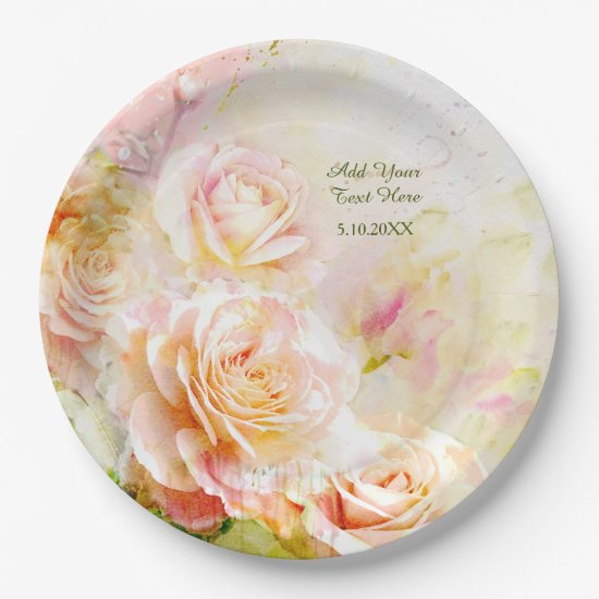 Soft Blush Watercolor Rose Floral Paper Plate