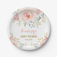 Soft Boho Blush Pink Gold Floral Baby Shower Paper Plate