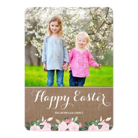 Soft Botanicals Burlap   Easter Photo Card