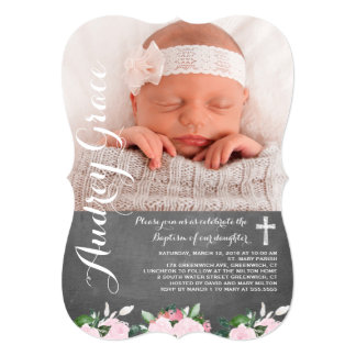 Soft Botanicals Chalkboard | Baptism Invitation