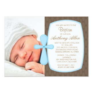 "Soft Brown,Baby Blue Boys Photo Baptism Invitation 5"" X 7"" Invitation Card"