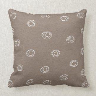 soft brown decorative doodle circles pillows