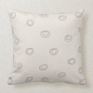 soft brown decorative doodle circles throw pillows