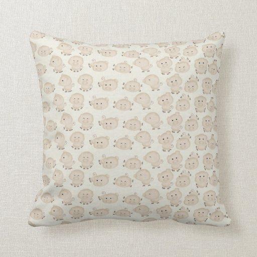 Large Soft Decorative Pillows : soft brown decorative doodle pigs pillows Zazzle