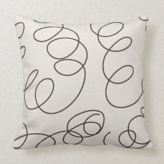 soft brown decorative doodle swirls pillow