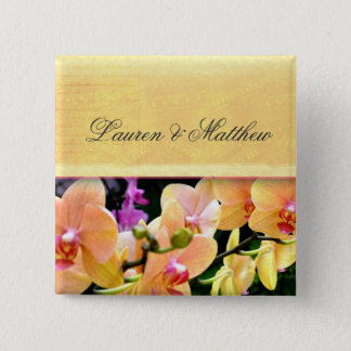 Soft buttercream orchid design button