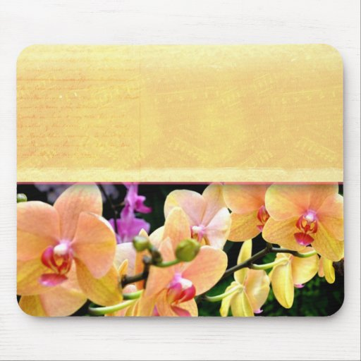 Soft buttercream orchid design mouse pad