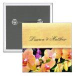 Soft buttercream orchid design pinback button