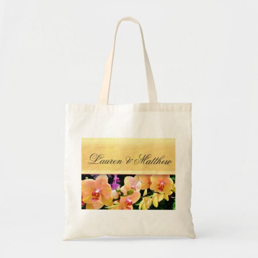 Soft buttercream orchid design tote bags