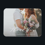 """Soft Calligraphy Wedding Thank You Photo Magnet<br><div class=""""desc"""">This design features a beautiful romantic script font overlay to showcase your wedding photo!</div>"""