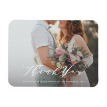 Soft Calligraphy Wedding Thank You Photo Magnet