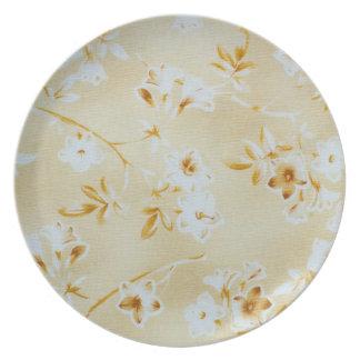 Soft Camelia Floral Melamine Plate