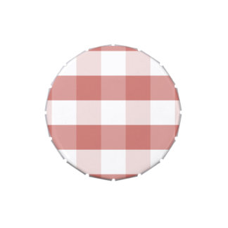 Soft Camellia Pink Gingham Check Pattern Candy Tin