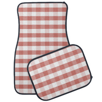 Soft Camellia Pink Gingham Check Pattern Car Mat