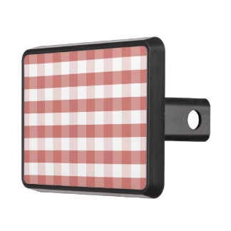 Soft Camellia Pink Gingham Check Pattern Hitch Covers