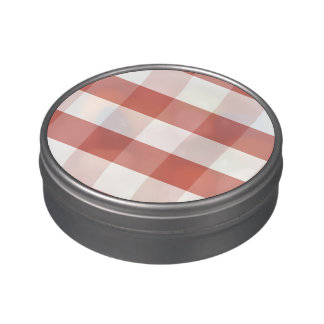 Soft Camellia Pink Gingham Check Pattern Jelly Belly Candy Tin