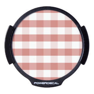 Soft Camellia Pink Gingham Check Pattern LED Car Window Decal