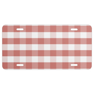Soft Camellia Pink Gingham Check Pattern License Plate