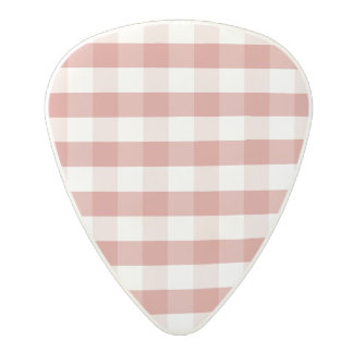 Soft Camellia Pink Gingham Check Pattern Polycarbonate Guitar Pick