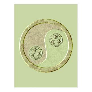 Soft Celadon Green Yin Yang Postcard