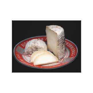 SOFT CHEESE PLATTER, CAMEMBERT TYPE CHEESE CHUNK CANVAS PRINT
