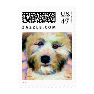 Soft coated wheaten terrier adorable unique art stamp