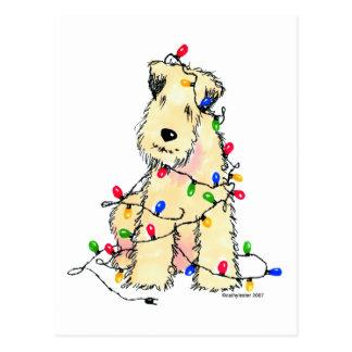 Soft Coated Wheaten Terrier - Christmas Postcard
