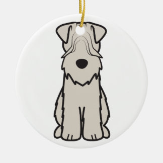 Soft Coated Wheaten Terrier Dog Cartoon Double-Sided Ceramic Round Christmas Ornament