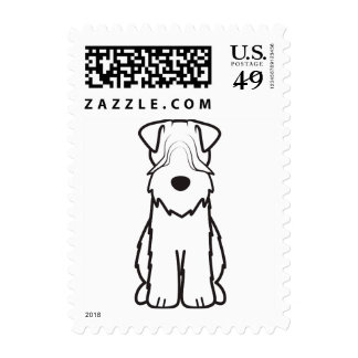 Soft Coated Wheaten Terrier Dog Cartoon Stamp