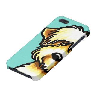 Soft Coated Wheaten Terrier Face Aqua iPhone 5 Covers